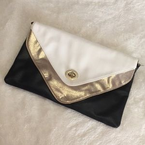 Black/white/gold Clutch